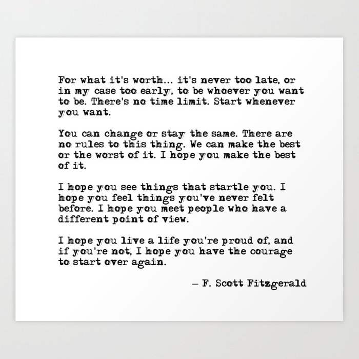 For what it's worth - F Scott Fitzgerald quote Kunstdrucke