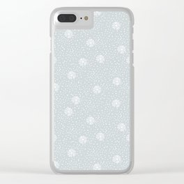 Mauve blue white hand painted polka dots snowflakes pattern Clear iPhone Case