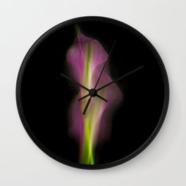 Abstract Purple Calla Lily on Black Background-Fleur Blur Series Wall Clock