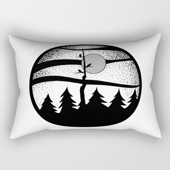 Raven Tree Monochrome Rectangular Pillow