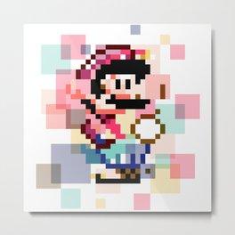 Super Mario Pixel Cubism Metal Print