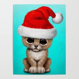 Christmas Lion Wearing a Santa Hat Poster