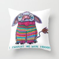 donkey Throw Pillows featuring Donkey by Ruth Wels