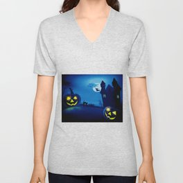 Background with pumpkins in Halloween party Unisex V-Neck
