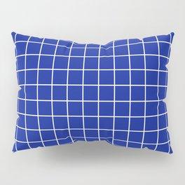 Indigo dye - blue color - White Lines Grid Pattern Pillow Sham