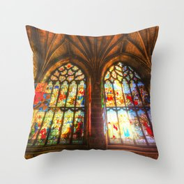 Cathedral Stained Glass Window Throw Pillow