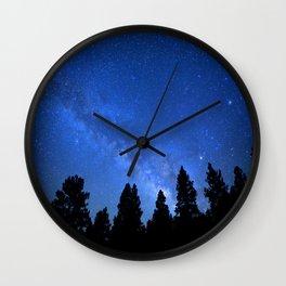 Milky Way (Black Trees Blue Space) Wall Clock
