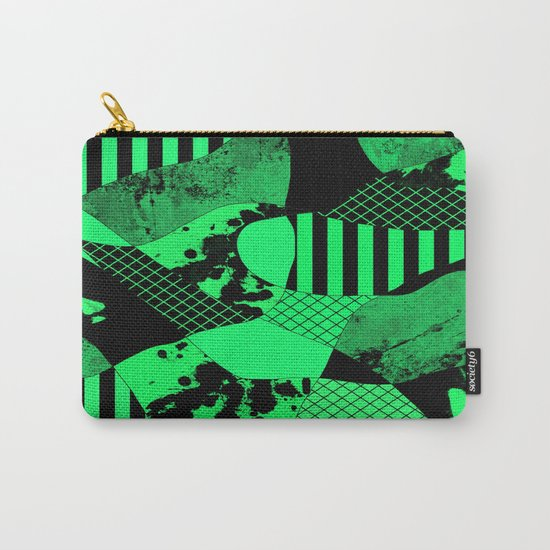 Black And Teal - Abstract, geometric, multi patterned artwork Carry-All Pouch