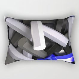 Pile of black, white and blue hexagon details Rectangular Pillow