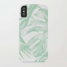 Light Green Tropical Palm Leaves Print iPhone Case