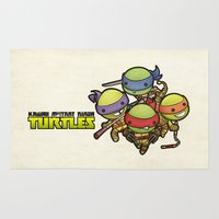ninja turtles Area & Throw Rugs featuring Kawaii Mutant Ninja Turtles by Squid&Pig