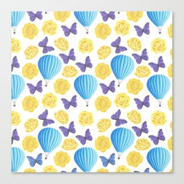 Modern yellow blue violet watercolor floral butterfly pattern Canvas Print