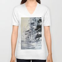 singapore V-neck T-shirts featuring Singapore II by Kasia Pawlak