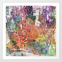 london map Art Prints featuring London map  by mark ashkenazi