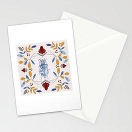 Blue Beetle Bug in digital  Folk Art. Stationery Cards