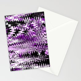 Wave abstact design purple black Stationery Cards