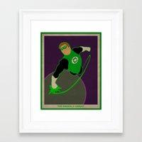green lantern Framed Art Prints featuring Green Lantern by Josh Akery