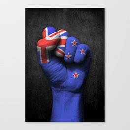 New Zealand Flag on a Raised Clenched Fist Canvas Print