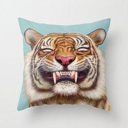 Smiling Tiger Throw Pillow