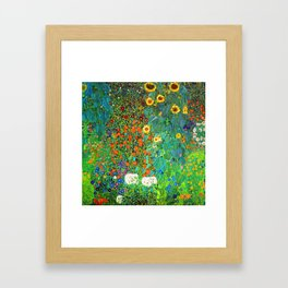 Gustav Klimt Garden with Sunflowers Framed Art Print