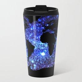 world Map Blue Swirl Galaxy Sparkle Travel Mug