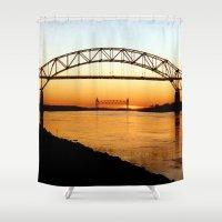 cape cod Shower Curtains featuring Cape Cod Bourne Bridge by BravuraMedia