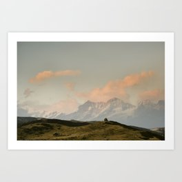 Sunrise over the Himalayas with Stupas Art Print