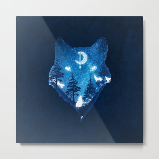 Moon Wolves Metal Print