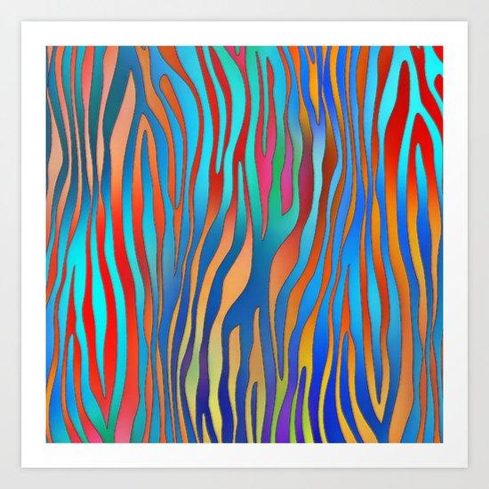 Colored Zebra Pattern Art Print