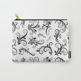 Venetian Damask, Ornaments, Swirls - Black White Carry-All Pouch