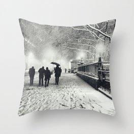 New York City Snow Bryant Park Throw Pillow