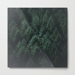 Evergreen & Dark - Pine Trees & Triangles Metal Print