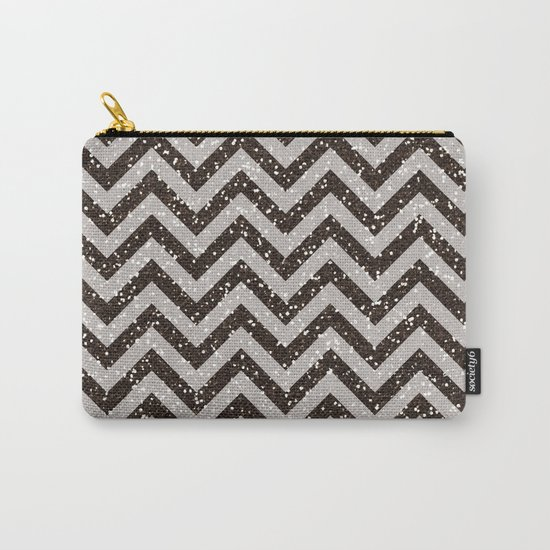 Sparkling glitter chevron pattern - Brown coffee Carry-All Pouch