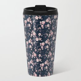 Navy and pink cherry blossom pattern Travel Mug