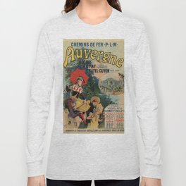 Vintage Auvergne French travel advertising Long Sleeve T-shirt