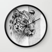 leopard Wall Clocks featuring Leopard by Anna Tromop Illustration
