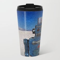 Blue Robot Metal Travel Mug