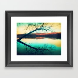 Sunrays mark the landscape Framed Art Print