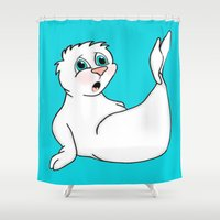 seal Shower Curtains featuring Surprised Seal by J&C Creations