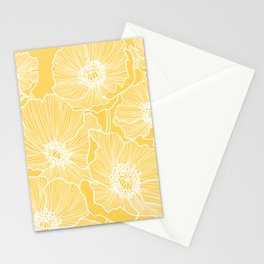 Sunshine Yellow Poppies Stationery Cards