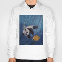 diver Hoodies featuring Panda Diver by Michael Creese