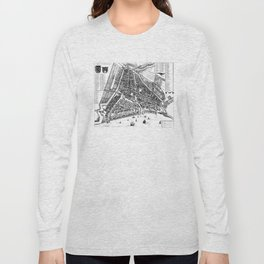 Vintage Map of Rotterdam Netherlands (1649) 2 BW Long Sleeve T-shirt