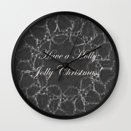 Have a Holly Jolly Christmas Vintage Wreath Chalkboard Wall Clock