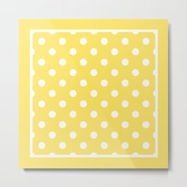 Sunshine Yellow Polka Dots Palm Beach Preppy Metal Print