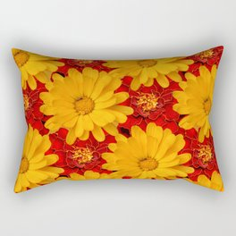A Medley of Red and Yellow Marigolds Rectangular Pillow