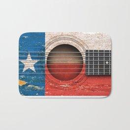 Old Vintage Acoustic Guitar with Texas Flag Bath Mat