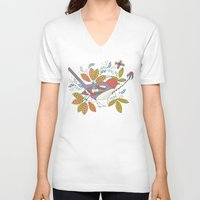 50s V-neck T-shirts featuring Bird and Butterfly  by Anna Deegan