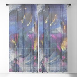Contemporary Abstract Art in Blue and Yellow Sheer Curtain