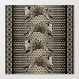 Buffalo Running (Gray) Canvas Print