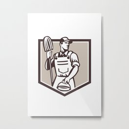 Janitor Cleaner Holding Mop Bucket Shield Retro Metal Print